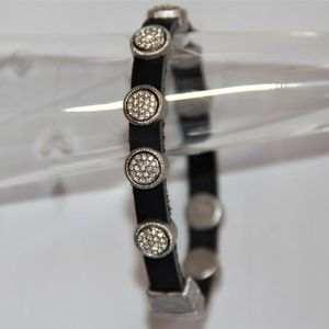 Jewelry - Black Leather Round Silver Pave Crystal Bracelet